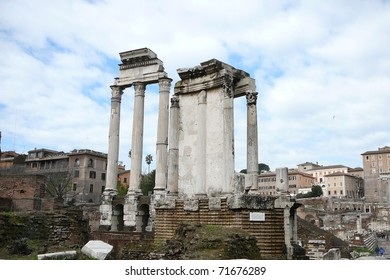 Temple of the Vestal Virgins in the Roman Forum, Italy