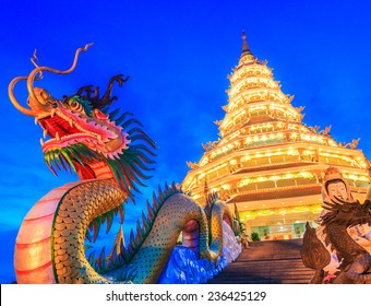 Temple wat hyua pla kang (Chinese temple) Chiang Rai, Asia Thailand, They are public domain or treasure of Buddhism, no restrict in copy or use