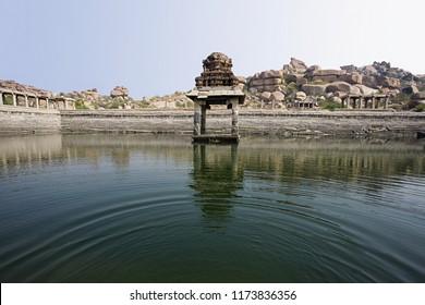 Temple water storage tank at Hampi world heritage site, Hampi, Karnataka