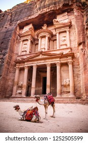 Сamels at the Temple-mausoleum of Al Khazneh in Petra.