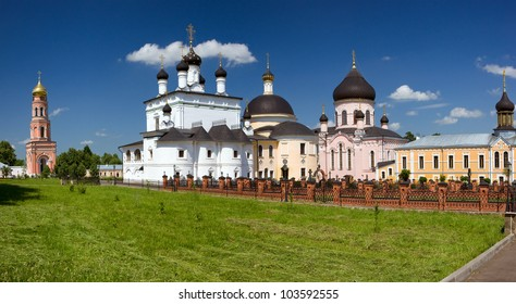 Temples and buildings inside the monastery, sunny day, Russia,
