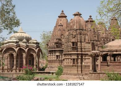 Temples and cenotaphs inside the Mandore gardens of Jodhpur, India