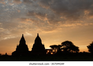 Temples eleventh to the thirteenth century in the archaeological site of Bagan in Myanmar.