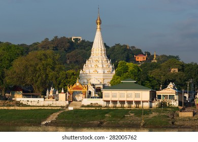 Temples of the old capital Sagaing along the Irrawaddy River in the morning sun
