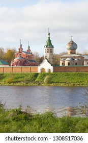 Temples of the Old Ladoga St. Nikolas monastery in the cloudy October afternoon. Leningrad Region, Russia
