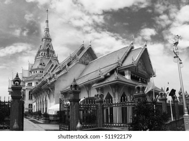 Temples sothorn of Chachoengsao with Black and white tone