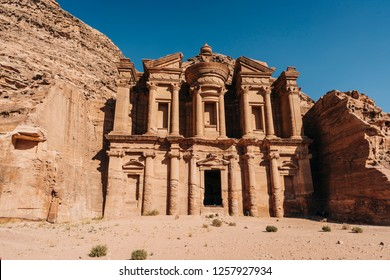 Temples and tombs in Petra archeologic site in Jordan