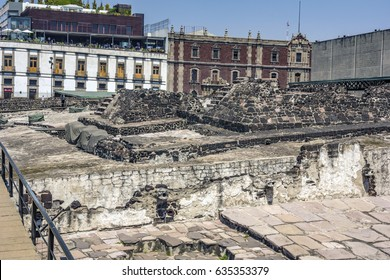Templo Mayor ruins in downtown Mexico City, Mexico