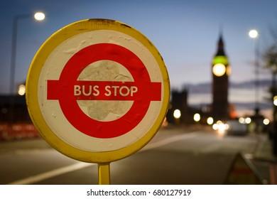 Temporary Bus Stop on Westminster Bridge in London (UK). July 2017.