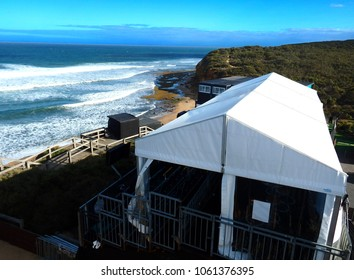 temporary event tent on top of a dune during a surf competition in australia