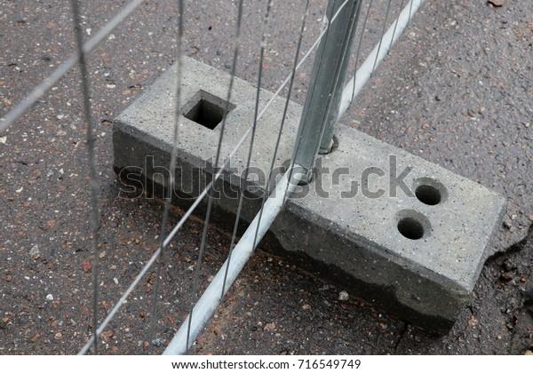 Temporary Fencing Concrete Base Galvanized Fence Stock Photo