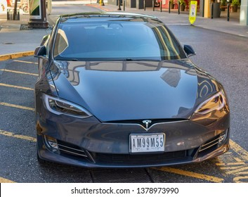 Temporary license plate required by California Assembly Bill AB 516 attached to Tesla 3. No more clean, plate free bumpers for Golden State drivers - San Jose, California, USA - April 23, 2019
