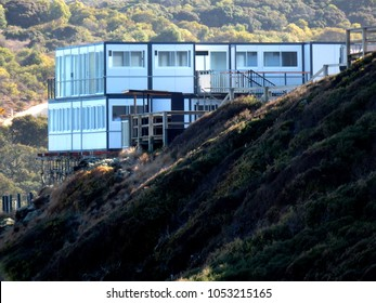 temporary press headquarters on top of a dune during a surf competition in bells beach australia