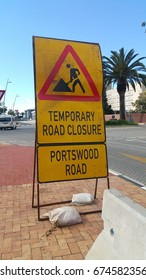 Temporary road signs at Waterfront, Cape Town, Western Cape, South Africa