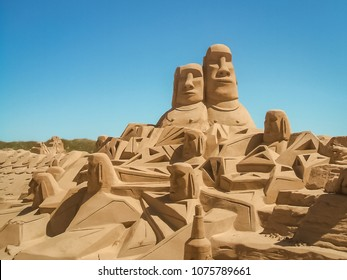 Temporary sand sculpture on a beach in Texel, The Netherlands