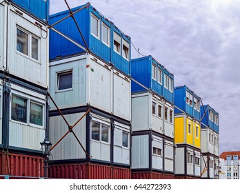 Temporary shelter for workers. Cargo container houses
