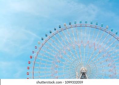 Tempozan Ferris Wheel at Osaka, Japan - Minimal Vintage tone picture  - Shutterstock ID 1099332059