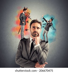 Temptation of a businessman with angel and devil