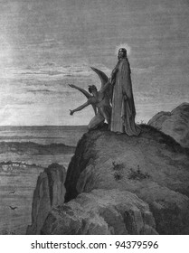 The Temptation of Jesus. 1) Le Sainte Bible: Traduction nouvelle selon la Vulgate par Mm. J.-J. Bourasse et P. Janvier. Tours: Alfred Mame et Fils. 2) 1866 3) France 4) Gustave Doré