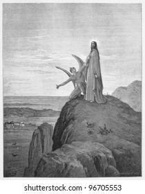 The Temptation of Jesus - Picture from The Holy Scriptures, Old and New Testaments books collection published in 1885, Stuttgart-Germany. Drawings by Gustave Dore.