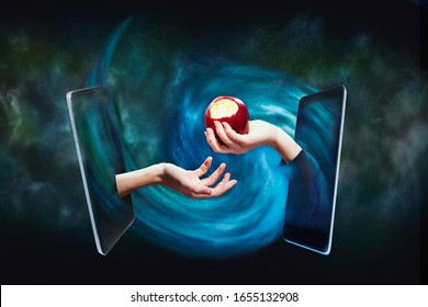 The temptation of knowledge, Internet access. Hand with an apple in a smartphone