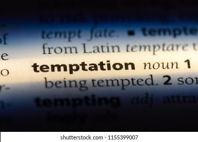 temptation word in a dictionary. temptation concept.
