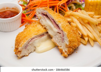 Tempura chicken stuffed with cheese