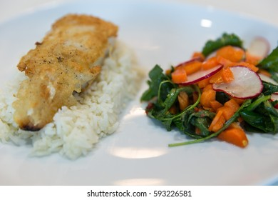 Tempura Cod with Spinach and Carrot Salad with Tamarind Dressing