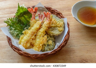 Tempura,  a Japanese dish of seafood or vegetables that have been battered and deep fried