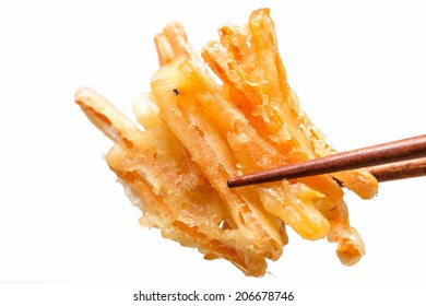 Tempura Japanese fried carrot isolated on white background