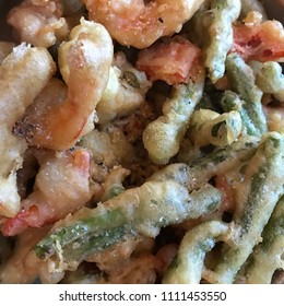 Tempura vegetables and shrimp
