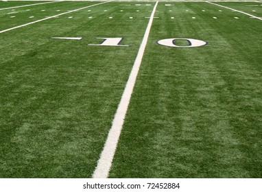 The ten (10) yard line on a football field.