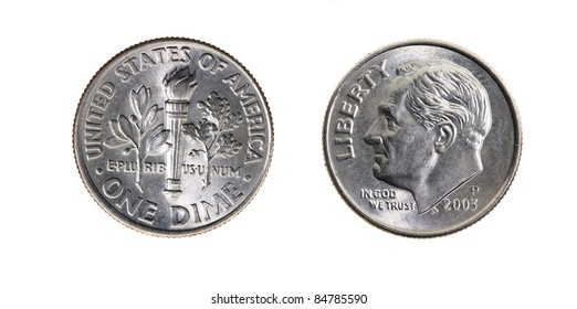 Ten American cents on a white background (a photo of both parties of a coin)