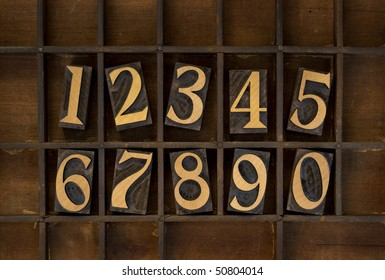ten arabic numerals from zero to nine, vintage wood letterpress blocks stained by black ink in old typesetter case with dividers, types flipped horizontally