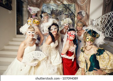 Ten beautiful women in masks