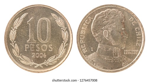 Ten Chilean Pesos coin isolated on white background - set
