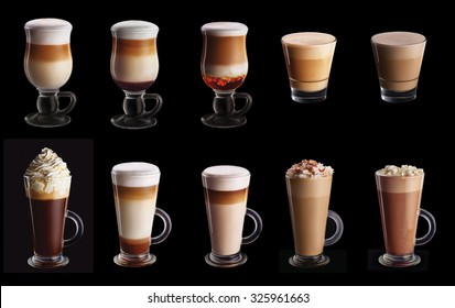 Ten coffee coctails collage set isolated on black background