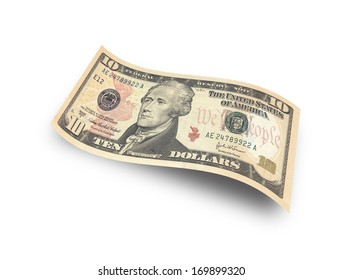 ten dollar banknote on white background