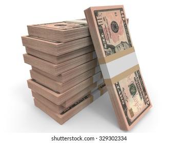 Ten dollar banknotes background. 3D illustration.