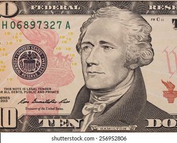 Ten dollar bill (10 usd) closeup macro, Alexander Hamilton portrait, united states money close up,  2013 series