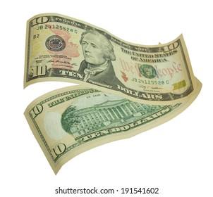 Ten dollar bill isolated on white