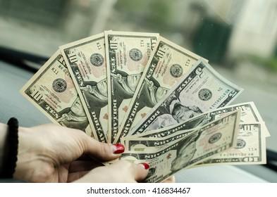 ten dollars, five dollars on hand