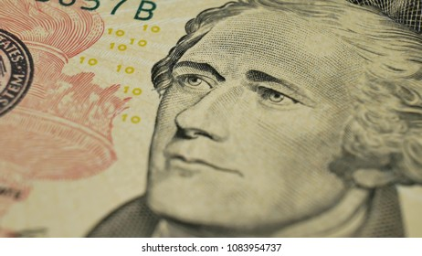 Ten Dollars and portrait Alexander Hamilton on USA money banknote