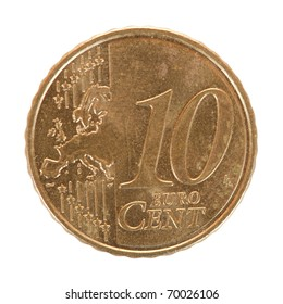ten euro cent coin. Isolated on white background