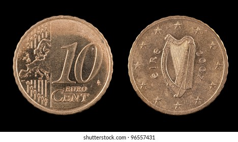The ten euro cent from Ireland on the black background