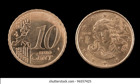 The ten euro cent from Italy on the black background