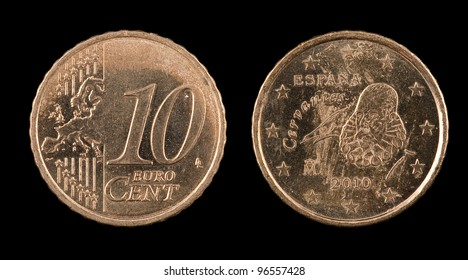 The ten euro cent from Spain on the black background