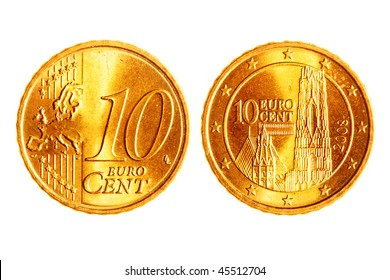 Ten euro cents coins isolated over white background