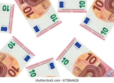 Ten euros on a white background
