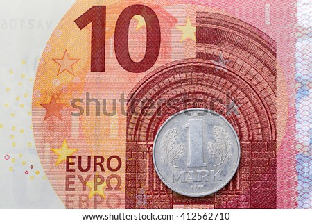 Ten Euros One German Mark Back Stock Photo Edit Now 412562710